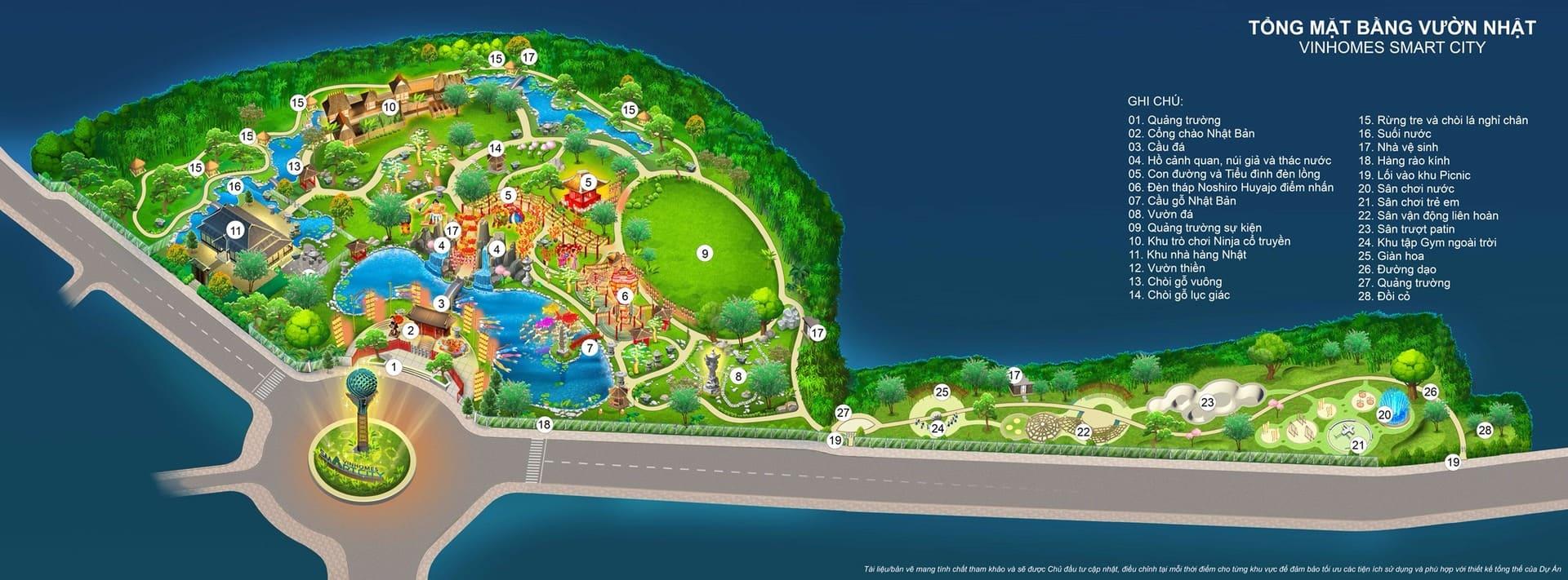 mặt bằng tiện ích vườn nhật vinhomes smart city
