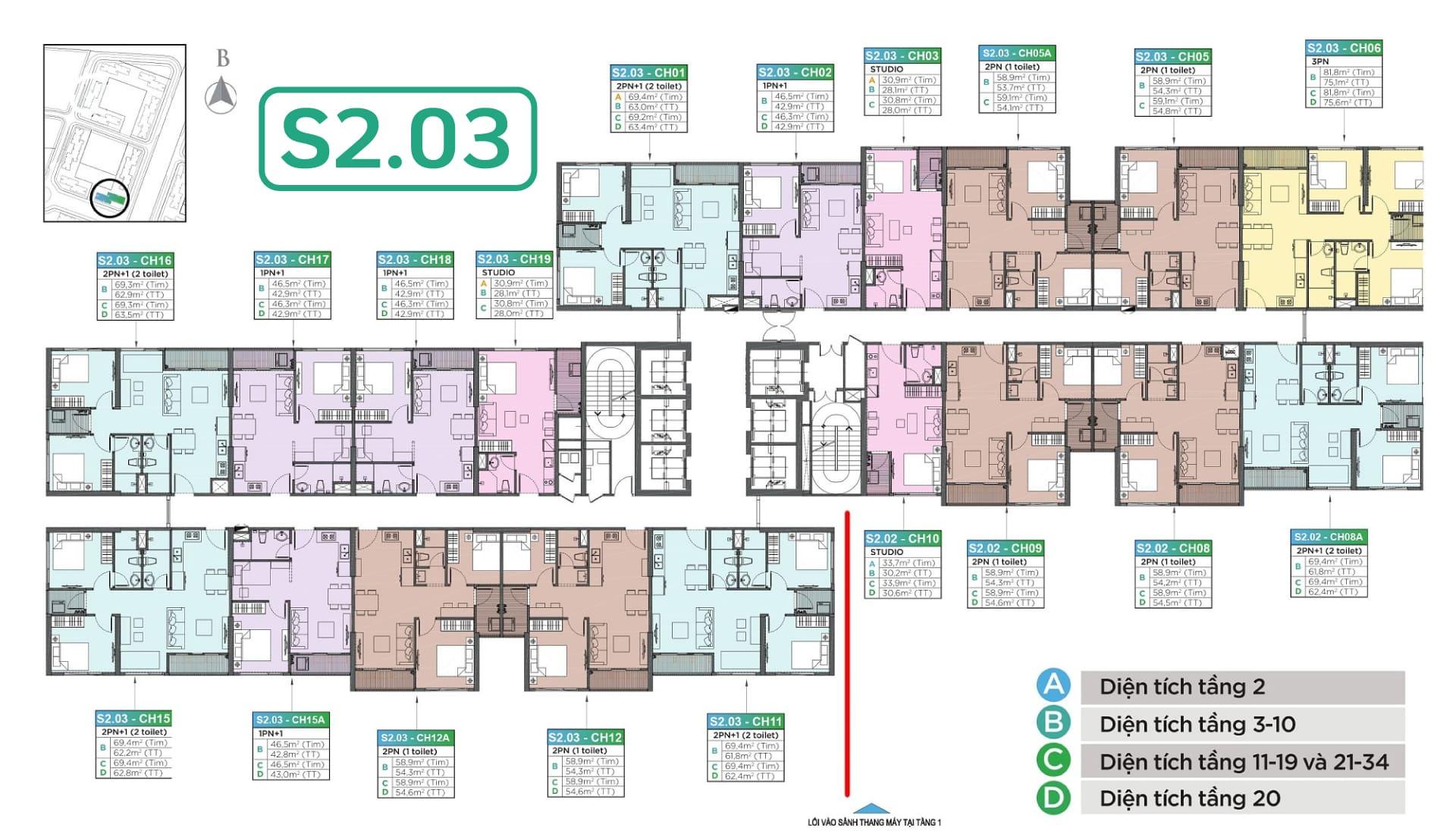 mặt bằng tòa căn hộ s2.03 vinhomes smart city