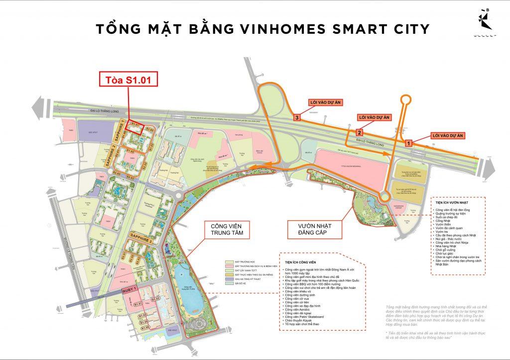 vị trí tòa S1.01 vinhomes smart city tây mỗ