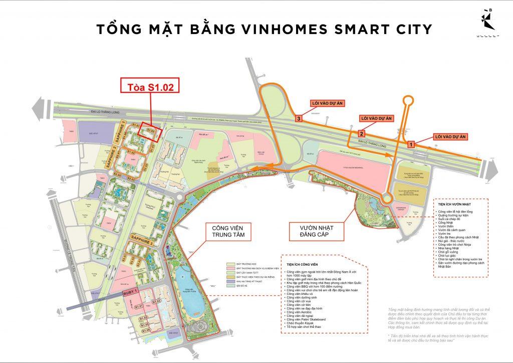 vị trí tòa S1.02 vinhomes smart city tây mỗ