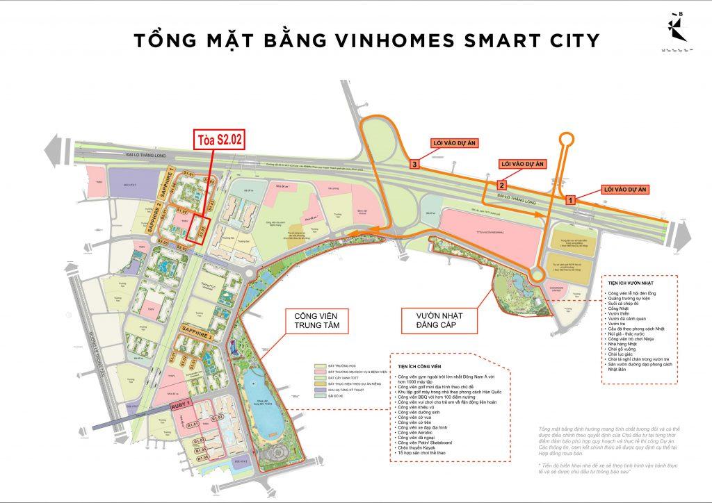 vị trí tòa s2.02 vinhomes smart city tây mỗ