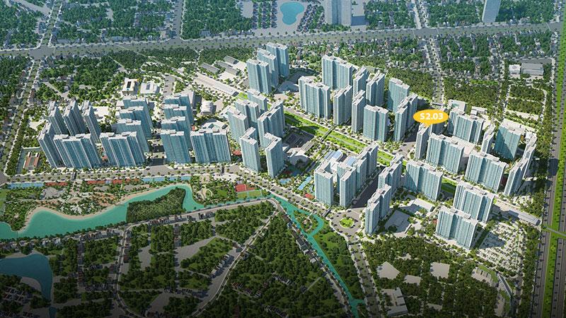 vị trí tòa s2.03 vinhomes smart city tây mỗ